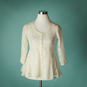 Free People XS Ivory Floral Lace Peplum Top